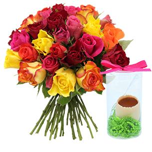 "Brassee de roses et son Å""uf FAUCHON - interflora"