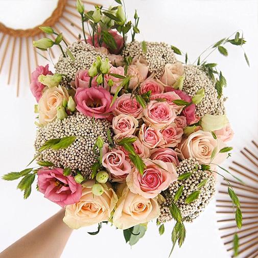 Bouquet de fleurs Rose tendre et son carnet