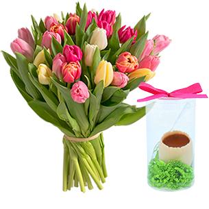 "Brassee de tulipes x30 et son Å""uf FAUCHON - interflora"