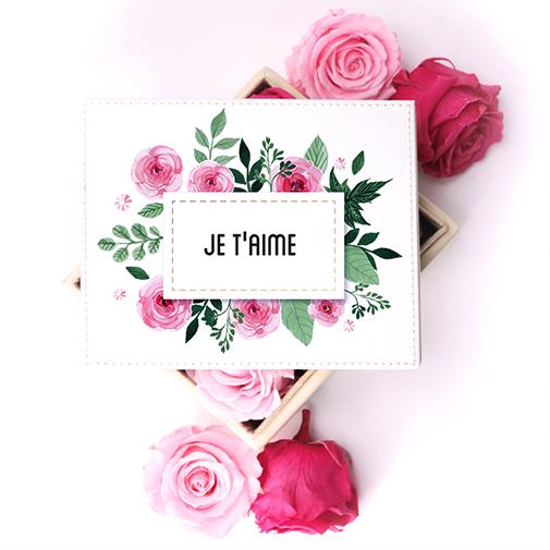 Bouquet de fleurs Boîte à bijoux et ses 6 roses éternelles