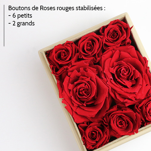 null Boîte à Bijoux Crème Personnalisable et ses Roses Rouges Éternelles