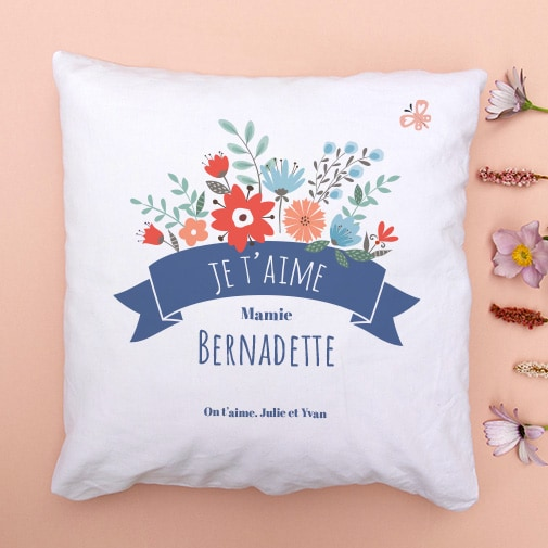 Coussin personnalisable - Mamie fleurie