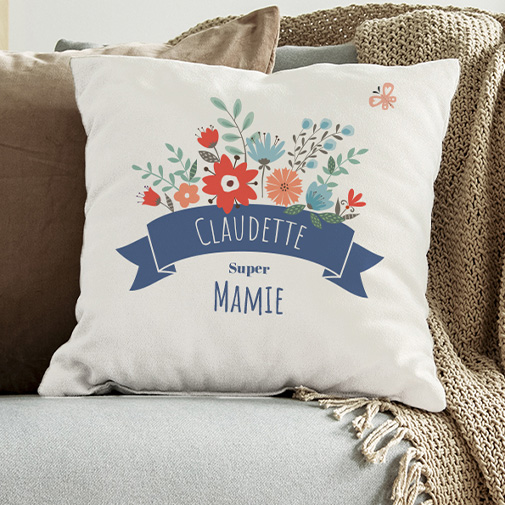 null Coussin personnalisable - Mamie fleurie