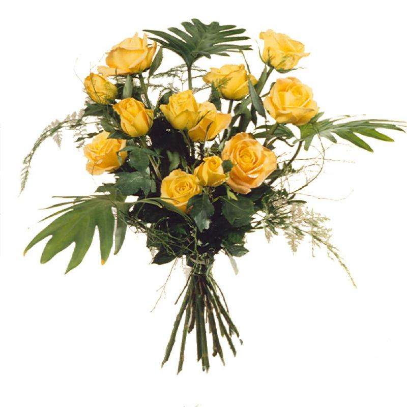 12 Yellow Roses with greenery