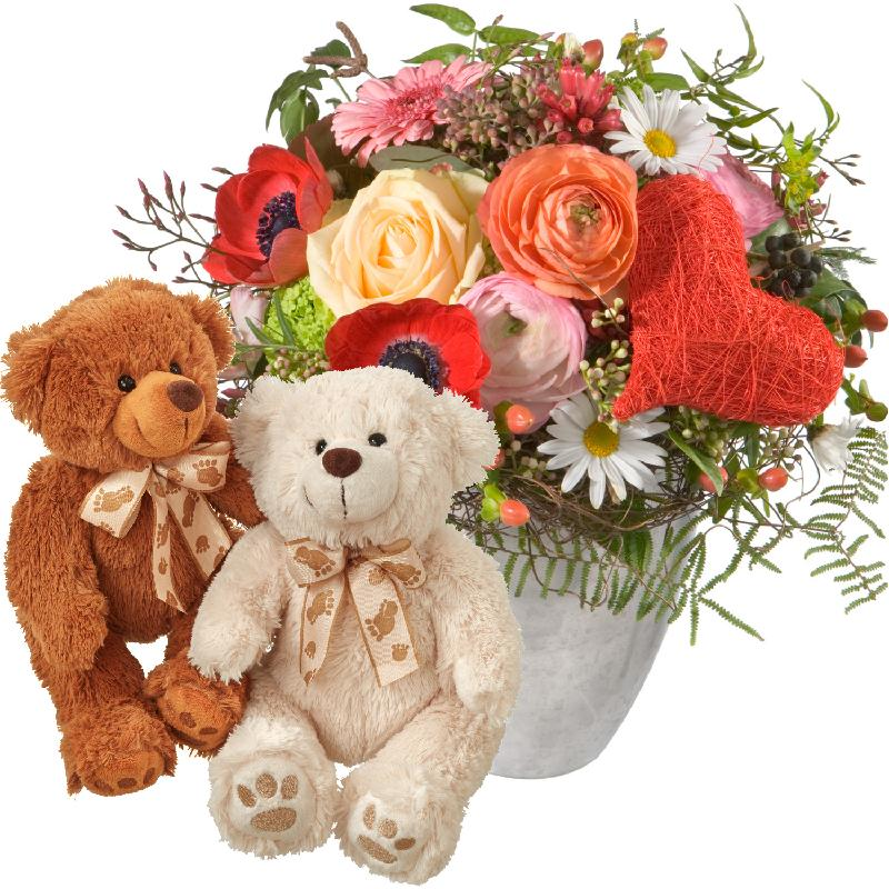 Valentine's Day Bouquet with two teddy bears (white & brown)