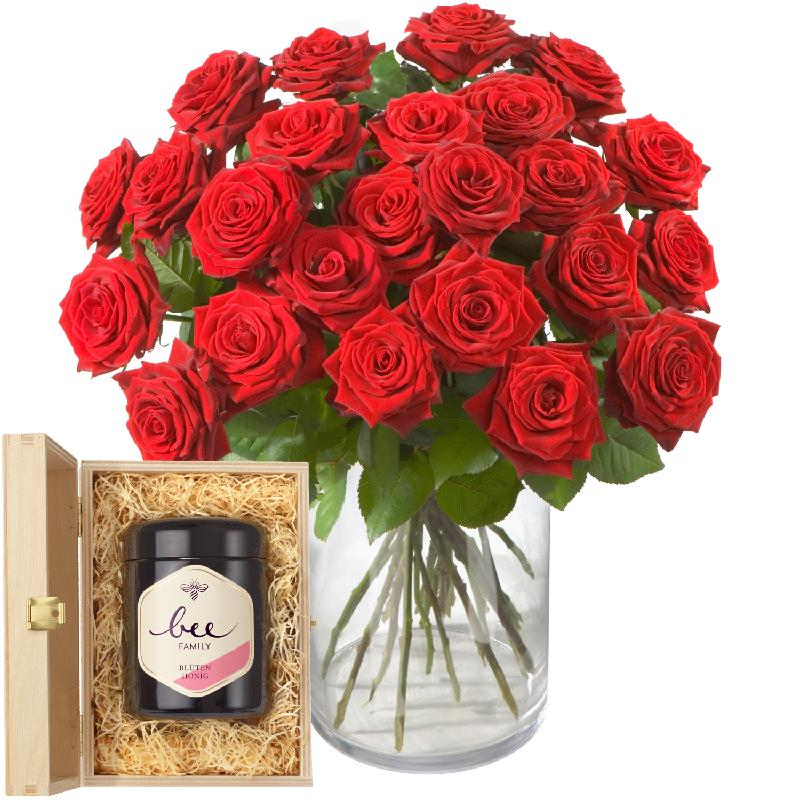 24 Red Roses with Swiss blossom honey
