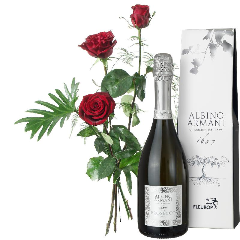 3 Red Roses with greenery and Prosecco Albino Armani DOC (75