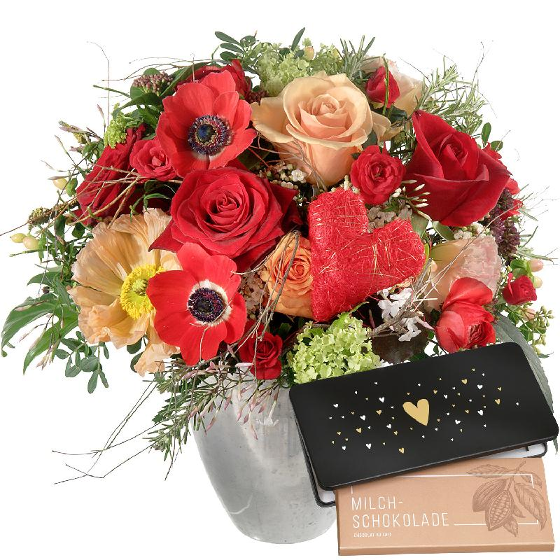 Valentine's Day Bouquet with red roses and bar of chocolate