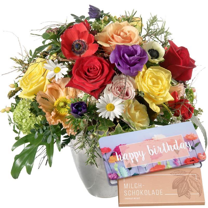 "Cheerful Spring Bouquet with bar of chocolate ""Happy Birthda"