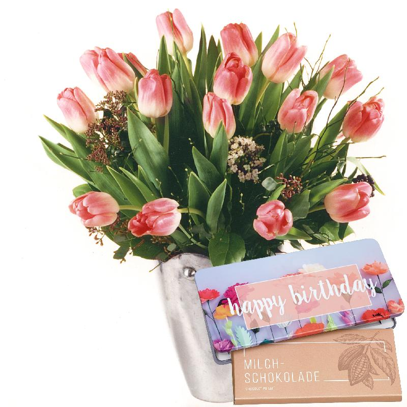 """Tulips in Tender Pink Shades with bar of chocolate """"Happy Bi"""
