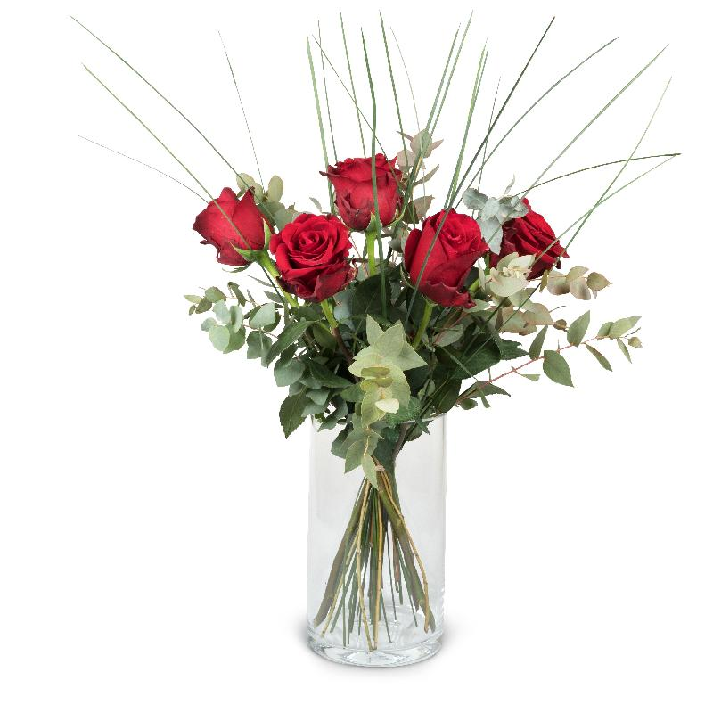 Bouquet de fleurs 5 Red Roses with greenery