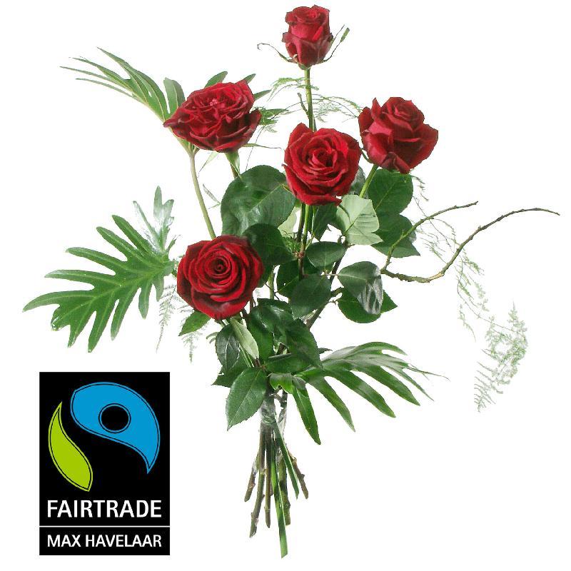Bouquet de fleurs 5 Red Fairtrade Max Havelaar-Roses, medium stem with greener