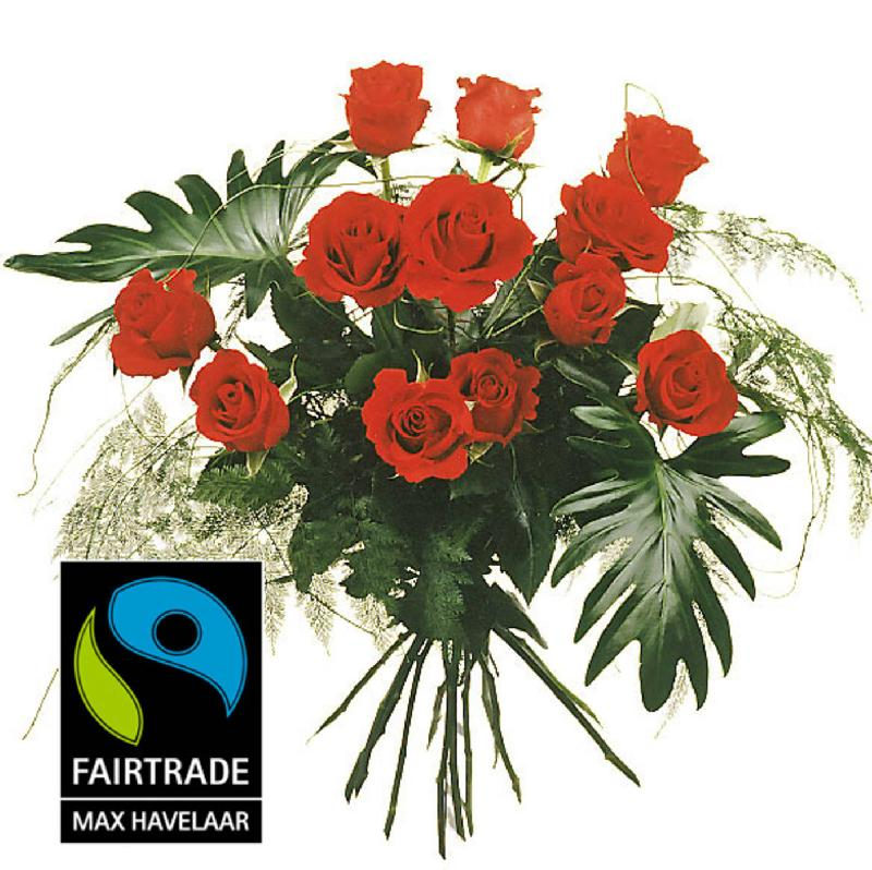 Bouquet de fleurs 12 Red Fairtrade Max Havelaar-Roses, medium stem with greene