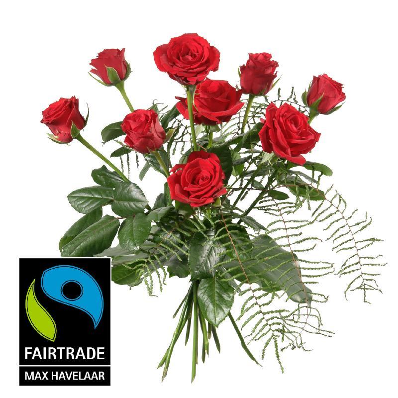 Bouquet de fleurs 9 Red Fairtrade Max Havelaar-Roses, shortstemmed with greene