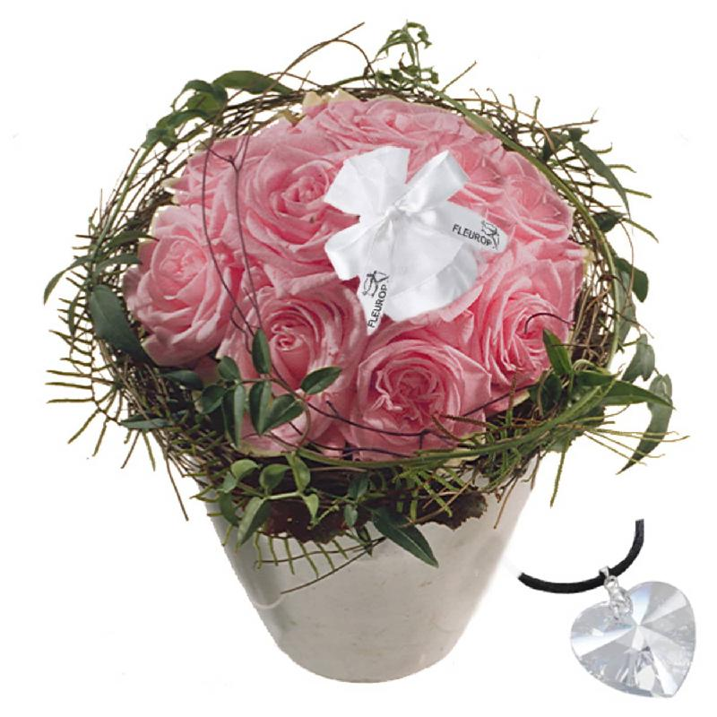 Bouquet de fleurs Just for You - Bijoux, with Swarovski® crystal heart