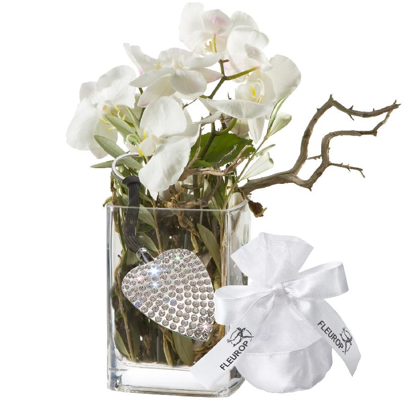 Bouquet de fleurs Orchid Design, incl. key ring with 112 Swarovski® crystals