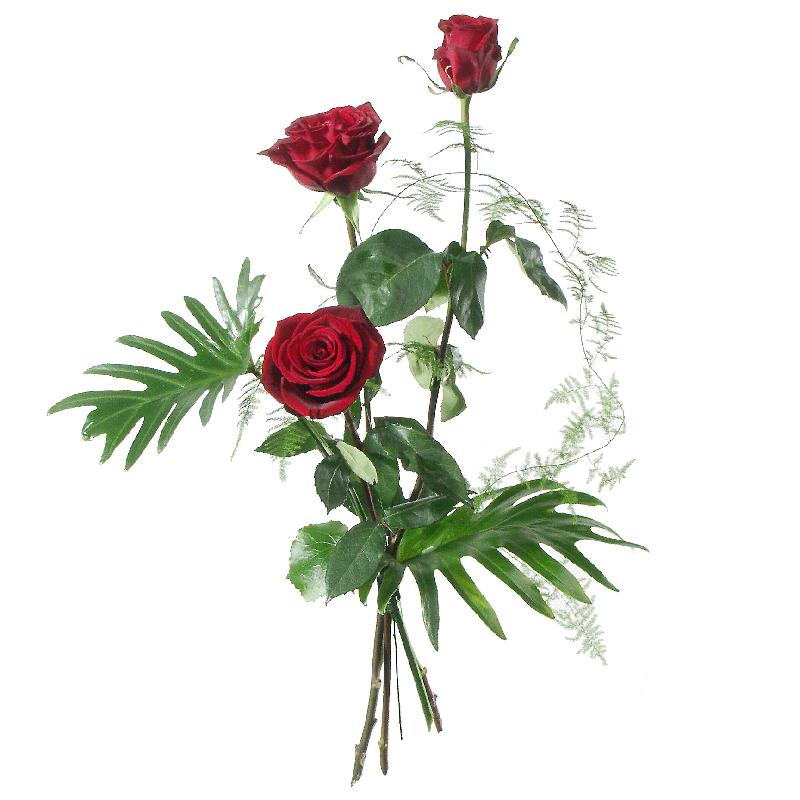 Bouquet de fleurs 3 Red Roses with greenery