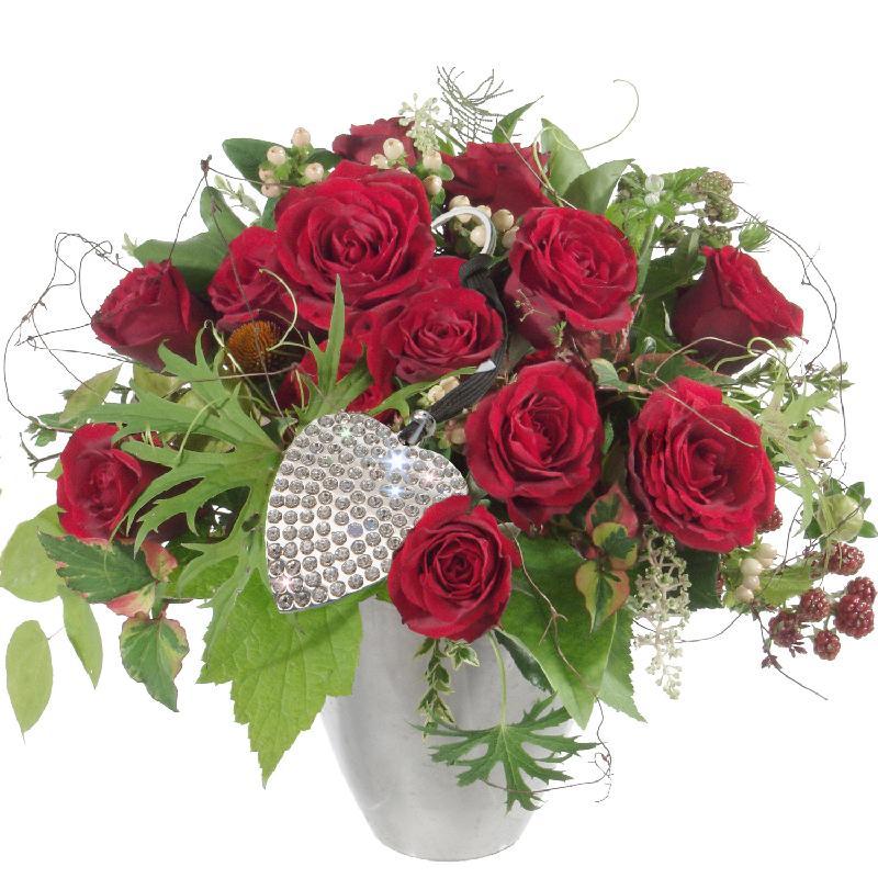 Bouquet de fleurs Bouquet I love you, incl. key ring with 112 Swarovski® cryst