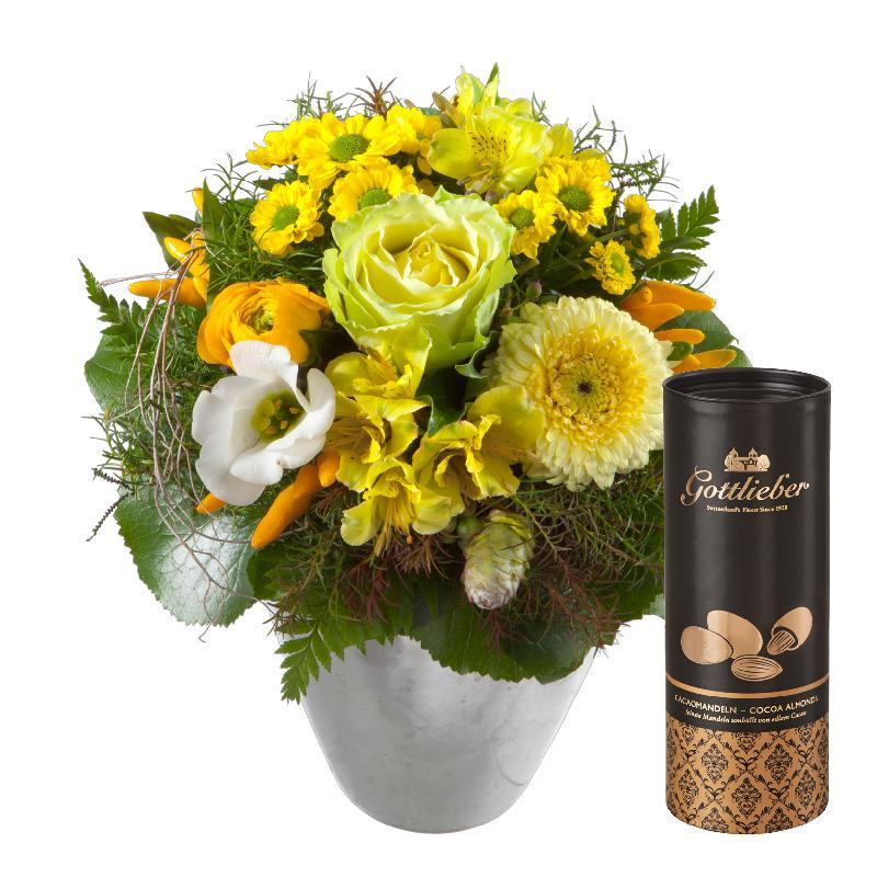 Bouquet de fleurs Happy Moments, with Gottlieber cocoa almonds