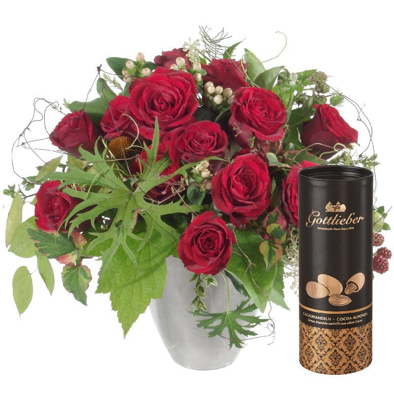 Bouquet de fleurs Bouquet I Love You, with Gottlieber cocoa almonds