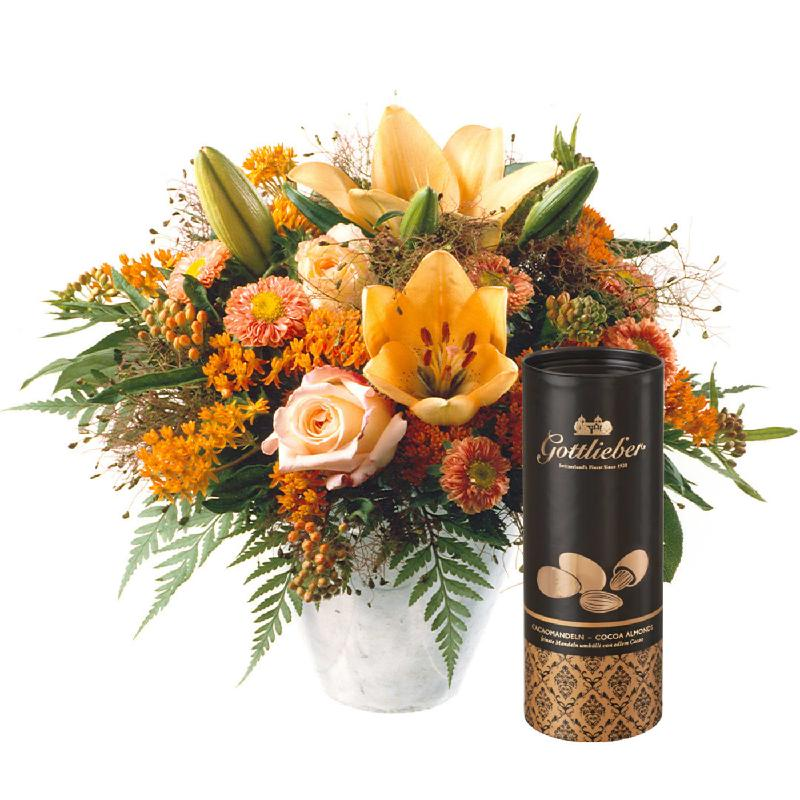 Bouquet de fleurs Vitality with Gottlieber Cocoa Almonds