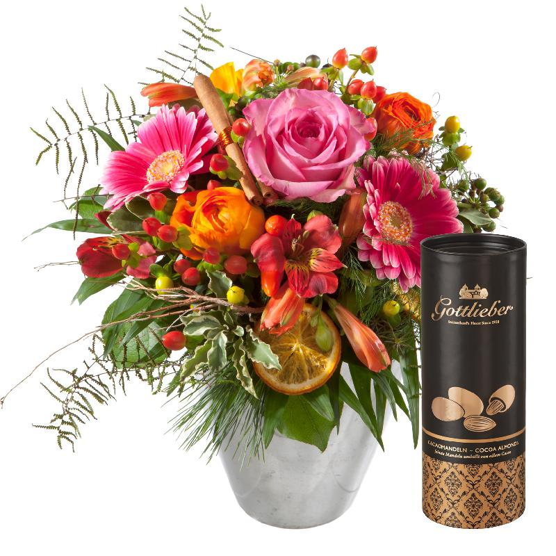 Bouquet de fleurs Happy Day with Gottlieber cocoa almonds