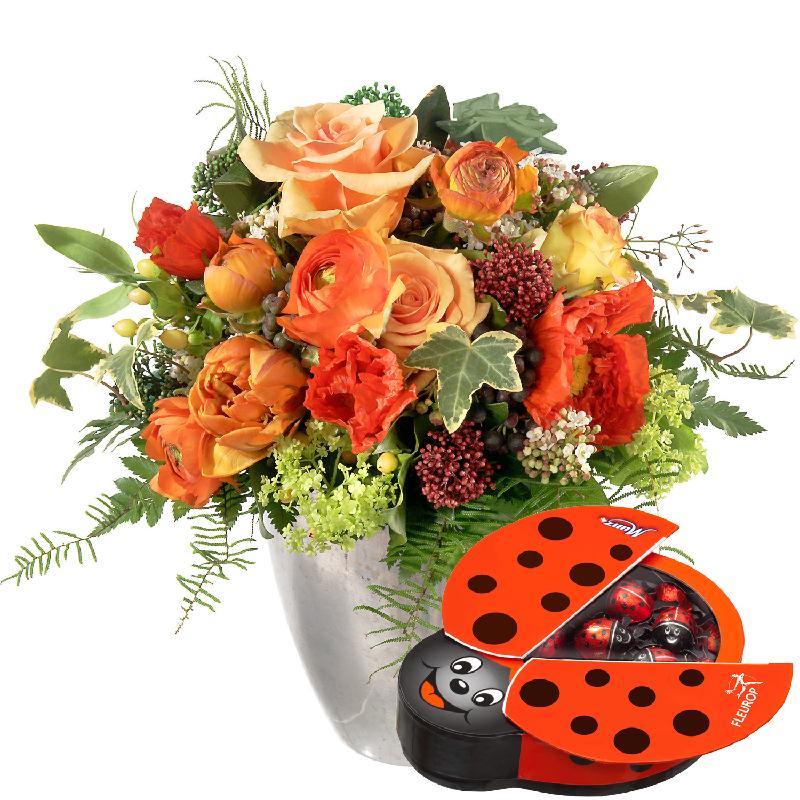 Bouquet de fleurs Joy of Life, with chocolate ladybird