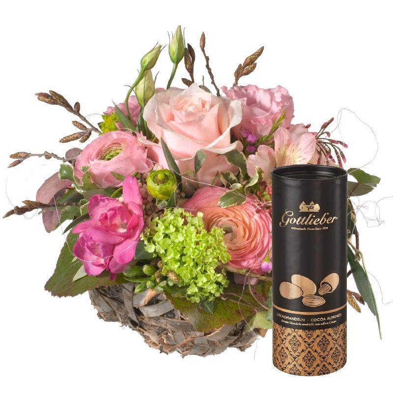 Bouquet de fleurs Sweet Spring Basket with Gottlieber cocoa almonds