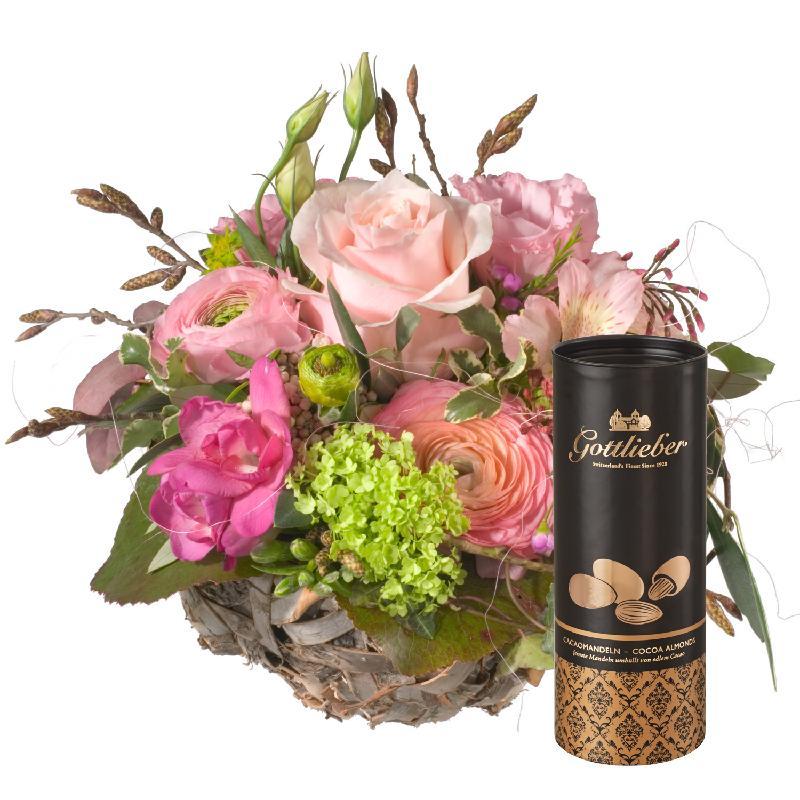 Bouquet de fleurs Sweet Spring Basket with Gottlieber cocoa almonds