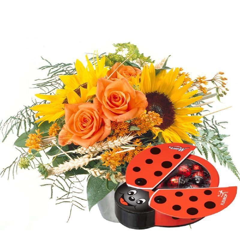 Bouquet de fleurs Smiley with Chocolate Ladybird