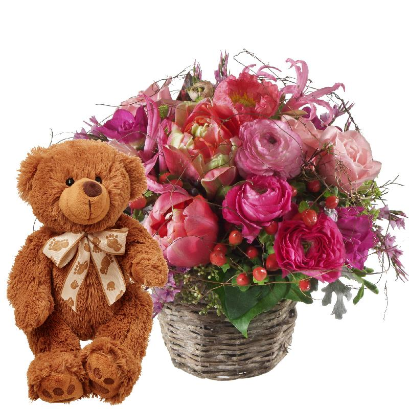 Bouquet de fleurs Heartbeat ... with teddy bear (brown)