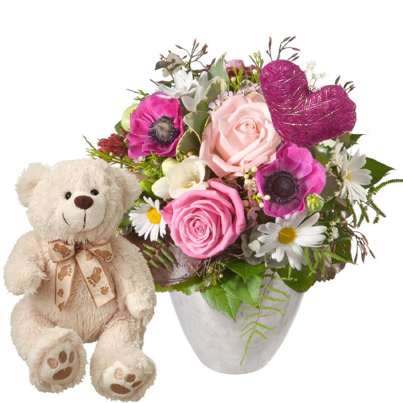 Bouquet de fleurs Butterflies in your Stomach, with heart and teddy bear (whit