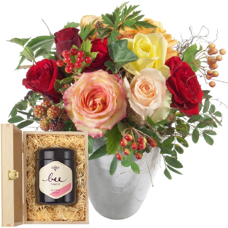 Bouquet de fleurs Magic of Roses with Swiss blossom honey
