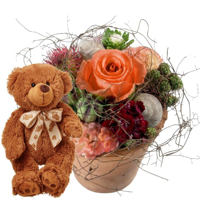 Bouquet de fleurs Flower Kiss with teddy bear (brown)