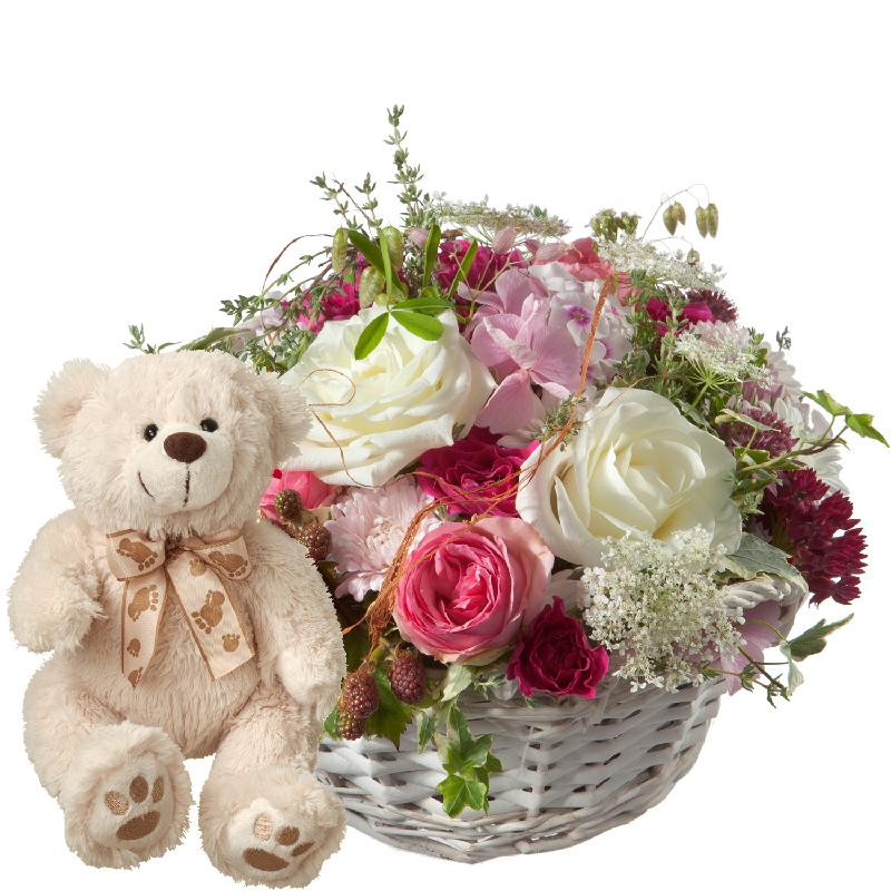 Bouquet de fleurs A Basket full of Poetry with Roses and teddy bear (white)