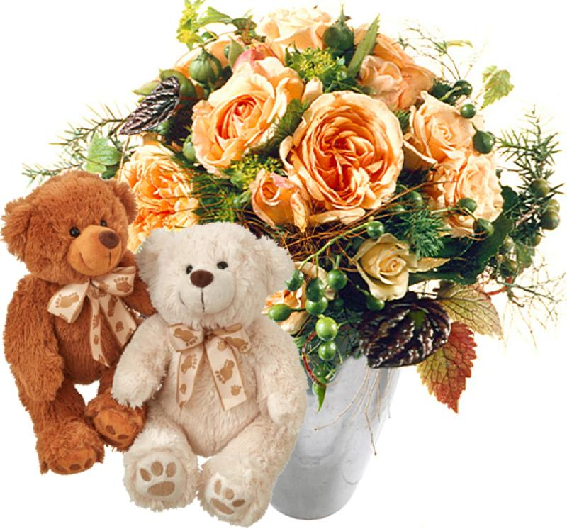 Bouquet de fleurs Delicate Rose Bouquet with two teddy bears (white & brown)