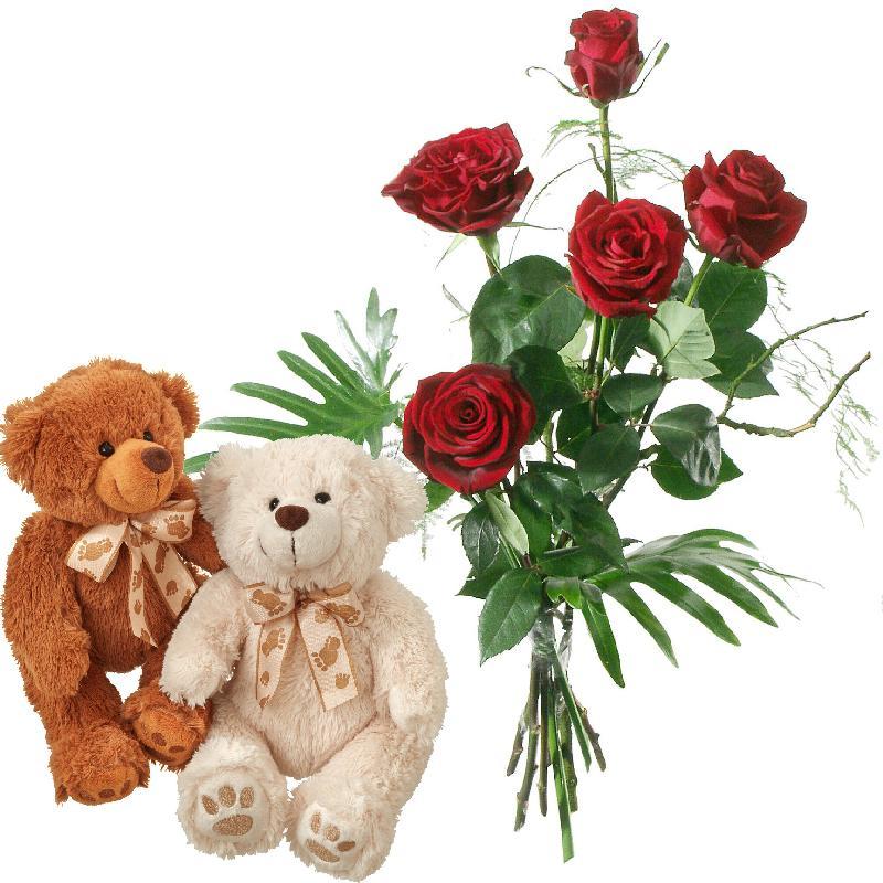 Bouquet de fleurs For my Little Bear, with two teddy bears (white & brown)
