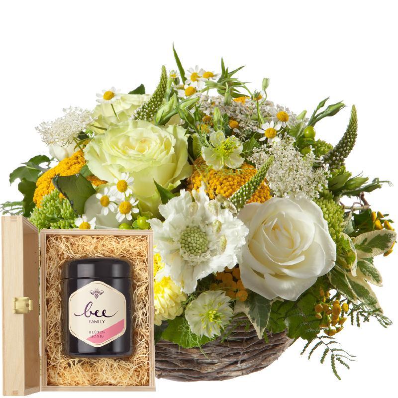 Bouquet de fleurs Sunny Days with Swiss blossom honey