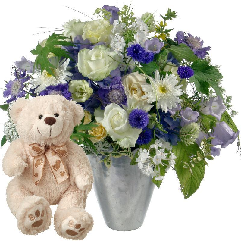 Bouquet de fleurs Simply heavenly .. with teddy bear (white)