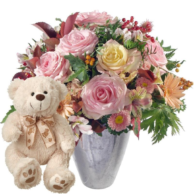 Bouquet de fleurs Summer Romance with teddy bear (white)