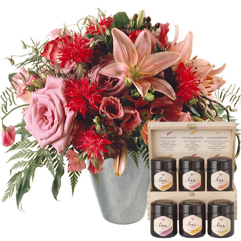 Bouquet de fleurs Lily princess with honey gift set
