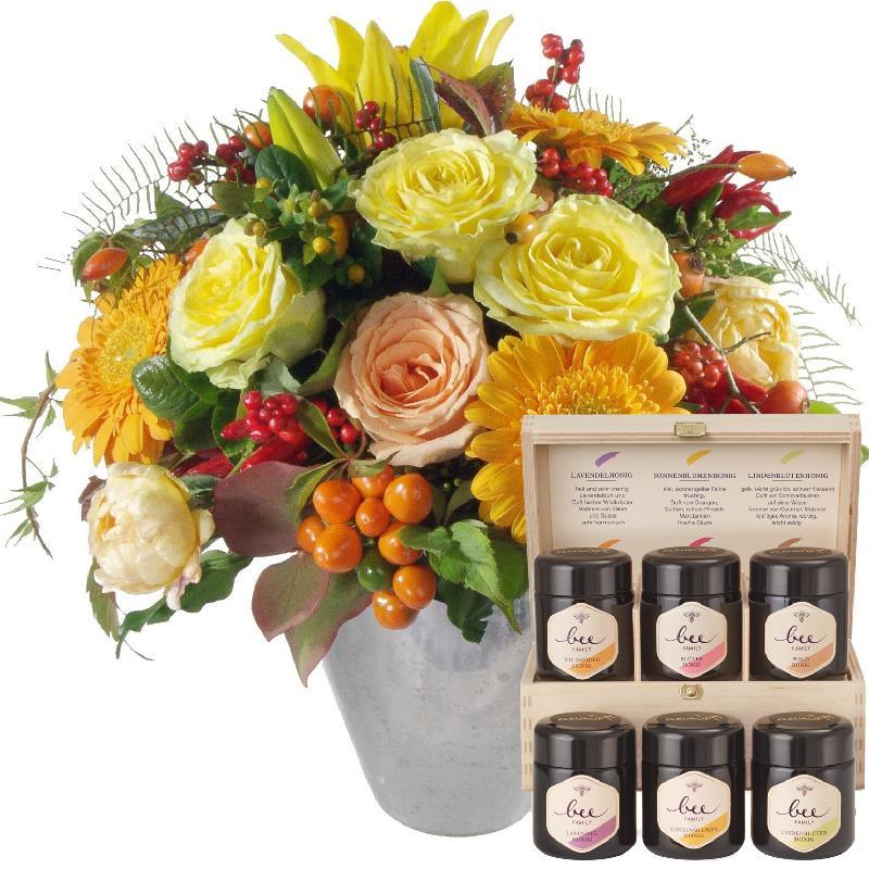 Bouquet de fleurs Sun of Indian Summer with honey gift set