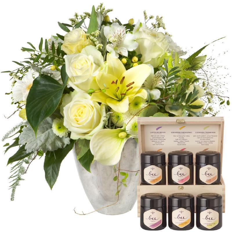 Bouquet de fleurs Exquisite Magic of Blossoms with honey gift set