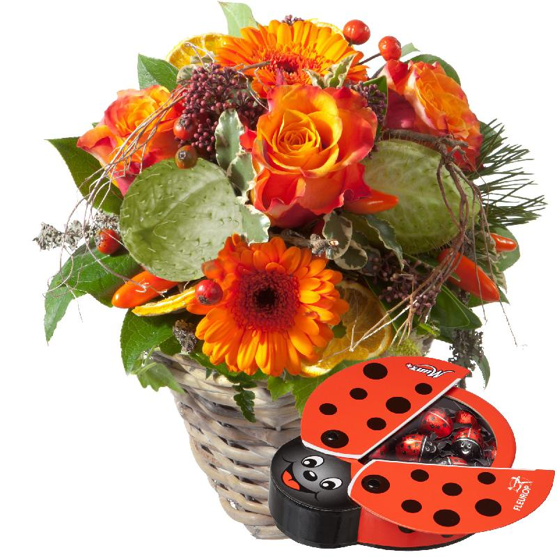 Bouquet de fleurs Winter Surprise with chocolate ladybird