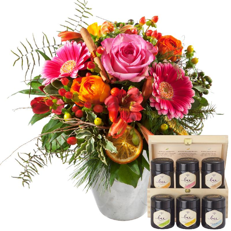 Bouquet de fleurs Happy Day with honey gift set