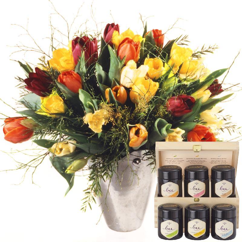 Bouquet de fleurs Colorful Bouquet of Tulips with honey gift set