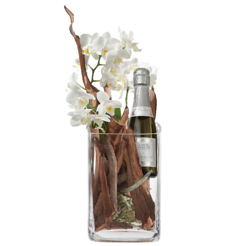 Bouquet de fleurs Natural and Exquisite with Prosecco Albino Armani DOC (20cl)