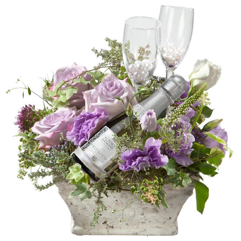 Bouquet de fleurs Tête-à-tête with Prosecco Albino Armani DOC (20cl) and two s