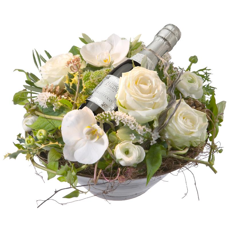 Bouquet de fleurs Heavenly Combination with  Prosecco Albino Armani DOC (20cl)