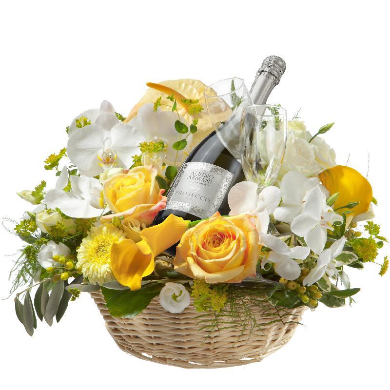 Bouquet de fleurs Simply Wonderful ... with Prosecco Albino Armani DOC (75cl)